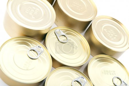 Tin with canned food closeup