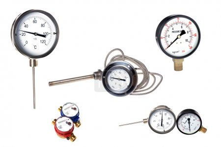 Measuring instruments on white