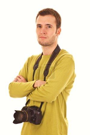 Foto de Joven fotógrafo aislado en blanco - Imagen libre de derechos