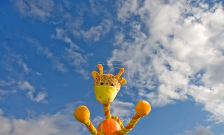 Giraffe toy over the blue sky