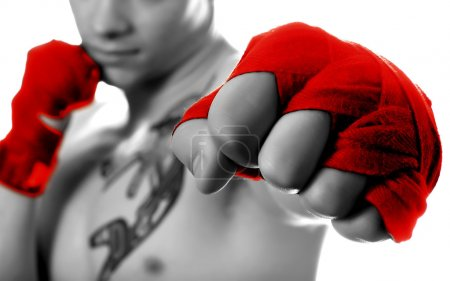 Photo for Street fighter isolated on white (focus on fist) - Royalty Free Image
