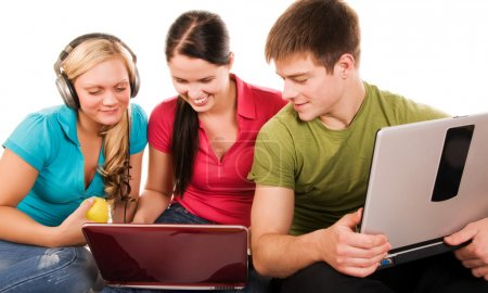 Photo for Group of students having fun, doing home work - Royalty Free Image