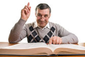 Senior man with book (isolated on white)