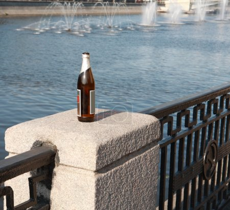 Bottle on fence