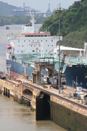 Ship entering Panama Canal at Miraflores