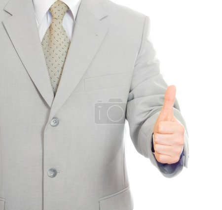 Thumbs up success hand sign isolated