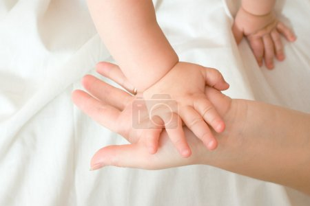 Hands of small baby and his mother