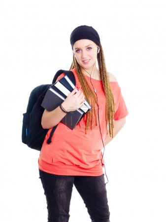 Teenager student holding backpack and bo