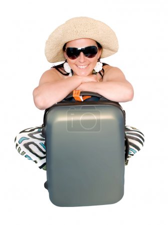Woman with suitcase over white