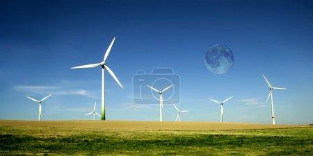 Wind turbines farm with high moon