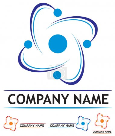 Illustration for Logo design symbolizes nuclear power station or science - Royalty Free Image