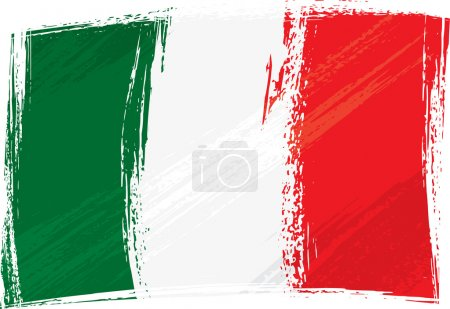 Italy national flag created in grunge style...
