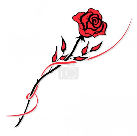 Illustration for Simple red rose drawing isolated on white - Royalty Free Image