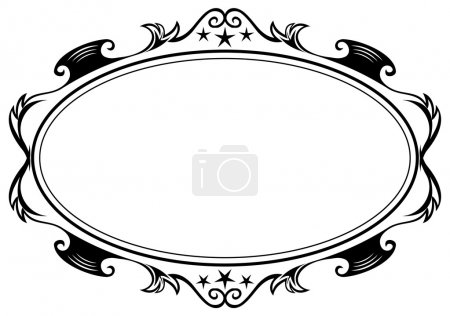 Illustration for Elegance black antique frame isolated on white - Royalty Free Image