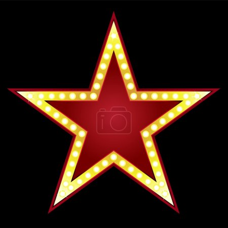 Illustration for Symbol of big red star on black background - Royalty Free Image