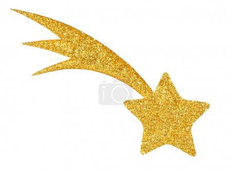 Foto de Estrella dorada aislada sobre fondo blanco lista para cortar y pegar - Imagen libre de derechos