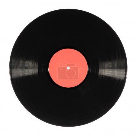 Photo pour Vieux disque vinyle noir isolé sur blanc - image libre de droit