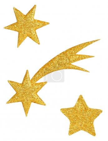Foto de Conjunto de estrellas doradas aisladas sobre fondo blanco listas para cortar y pegar - Imagen libre de derechos