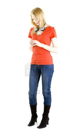 Girl listening music from mp3 player