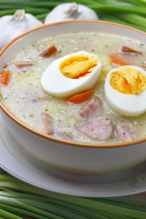 Delicious sour soup with egg.