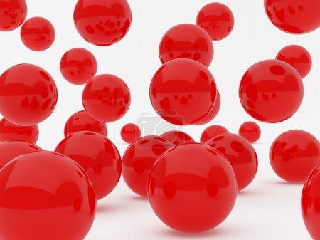 Red balls falling