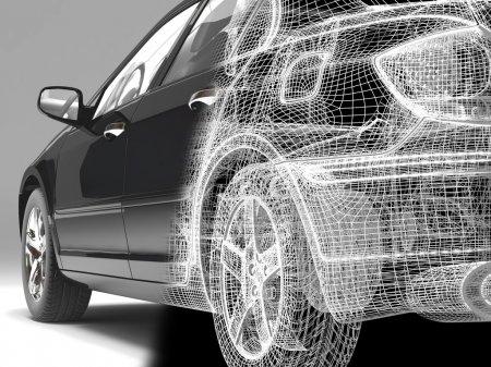 Foto de Coche de imagen de alta resolución sobre un fondo negro. Ilustración 3D. - Imagen libre de derechos