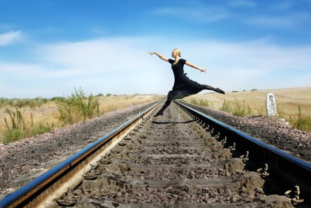 Walking through the railway