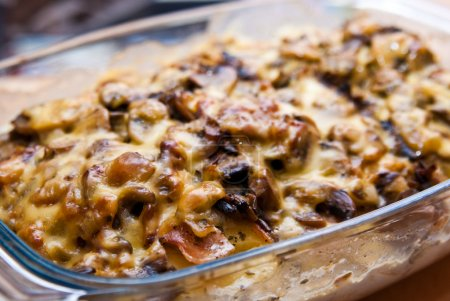 Casserole with potato cheese mushrooms
