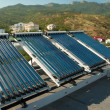 Vacuum solar water heating system on the house roo...