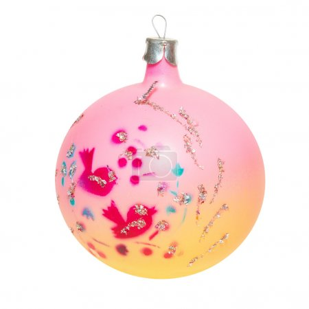 Pink Christmas bauble isolated on white.