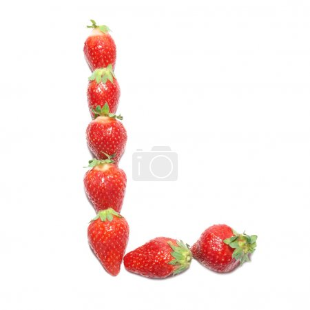 """Photo pour Alphabet santé fraise lettre """"L"""" avec isolement blanc - image libre de droit"""