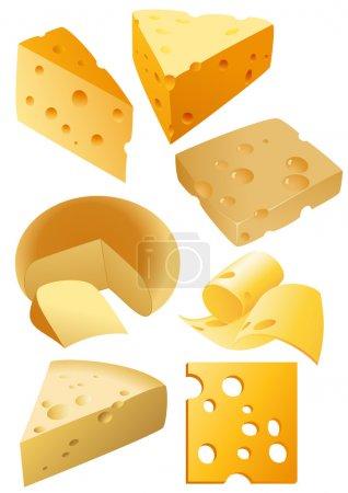 Illustration pour Courbes de fromage, illustration vectorielle, fichiers EPS et AI inclus - image libre de droit