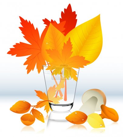 Autumnal leaf in the glass