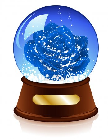 Christmas sphere with blue rose inside