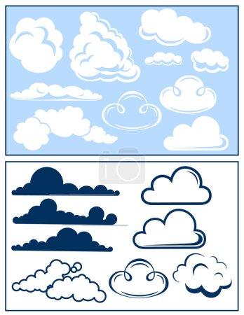 Illustration pour Ensemble nuage, illustration vectorielle - image libre de droit