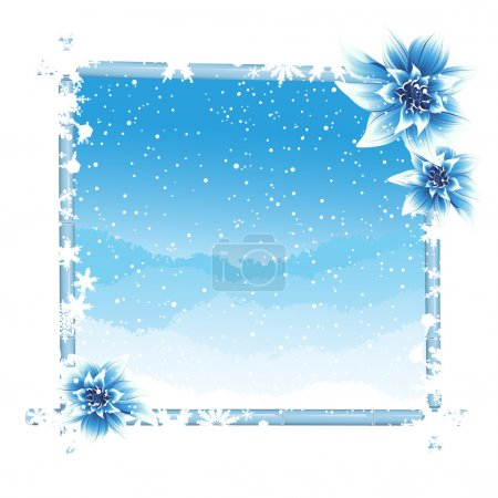 Winter frame with ice flowers