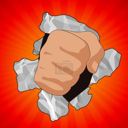 Fist breaking paper on red background