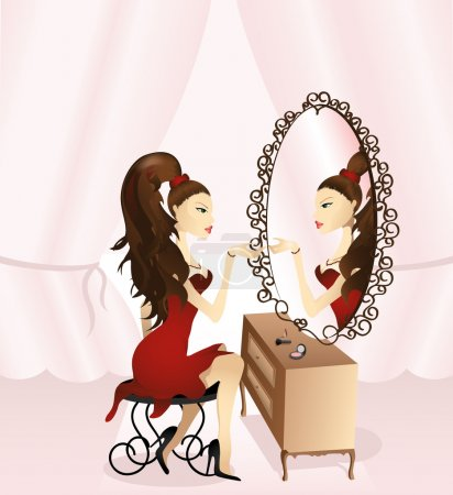 Illustration for Beautiful girl looking into the mirror, vector illustration - Royalty Free Image