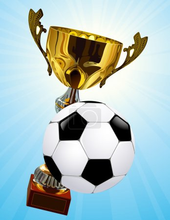 Competition cup and football ball