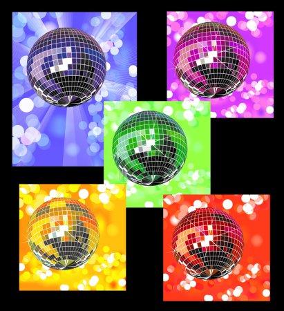 Colored disco balls in defocused lights