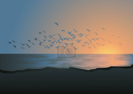 Illustration for Flock of birds above the sea, vector illustration, EPS and AI files included - Royalty Free Image