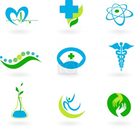 Illustration for A set of icons - health and medicine theme - Royalty Free Image