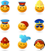 Smiley set with different professions