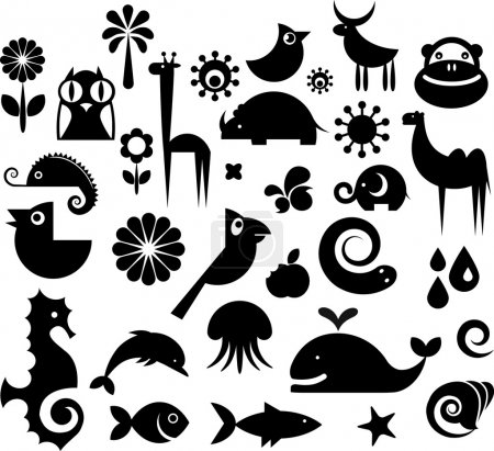 Illustration for A set of black and white silhouette of birds, animals and flowers - Royalty Free Image