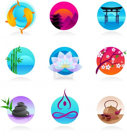 Illustration for A set of icons in Chinese, Japanese and Indian style - spirituality and wellness theme - Royalty Free Image