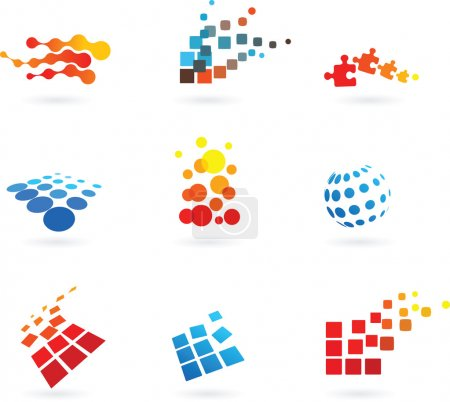 Photo for Collection of vector modern abstract dotted design elements - Royalty Free Image