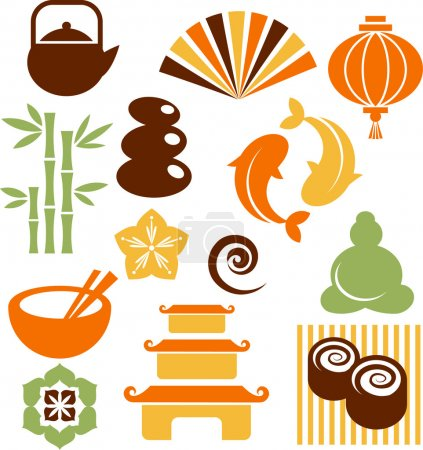 Illustration for Collection of colorful Zen icons - vector illustration - Royalty Free Image