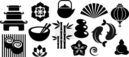 Illustration for Collection of black and white Zen icons - vector illustration - Royalty Free Image
