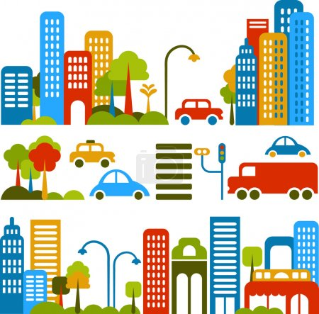 Illustration for Vector illustration of a city street with colorful icons of cars, trees and buildings - Royalty Free Image