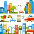 Vector illustration of a city street with colorful...